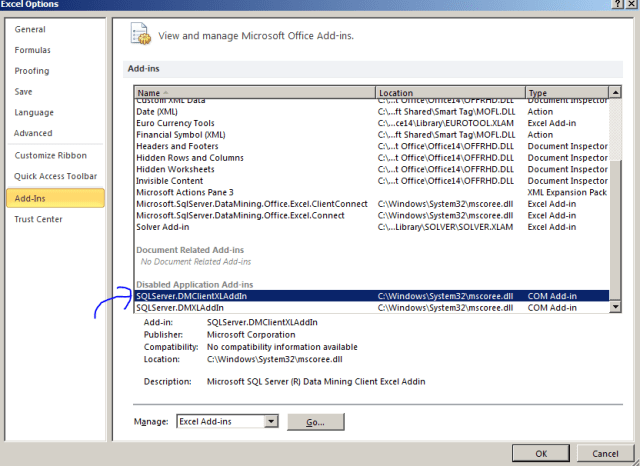 sql server 2012 data mining excel addin disabled excel options