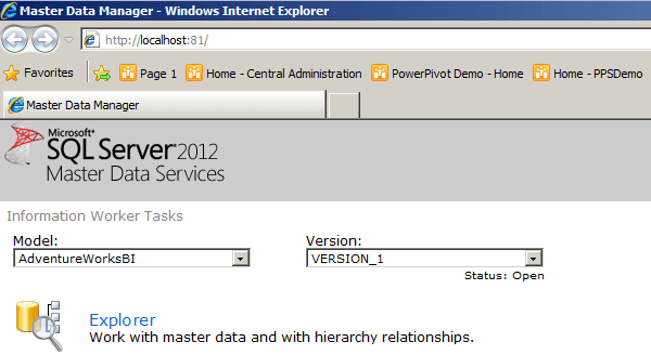SQL Server 2012 master data services web manage UI