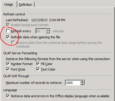Excel Data Refresh Cube
