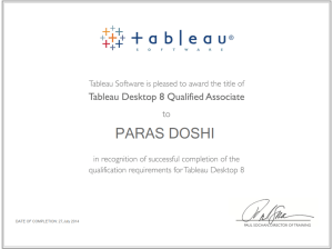 Tableau 8 Qualified associate Certificate paras doshi