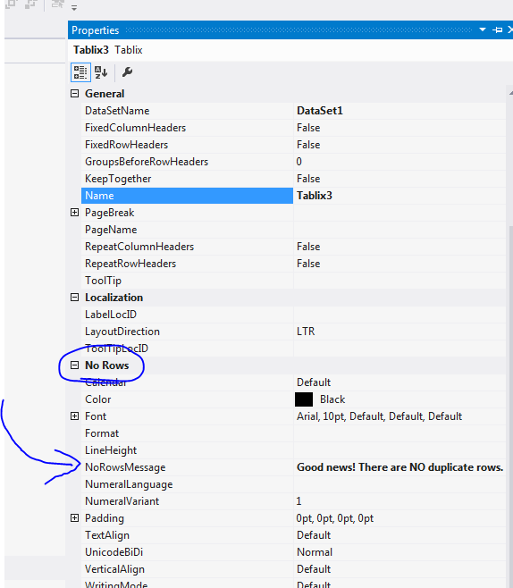 SQL Server reporting services NO data rows message v2