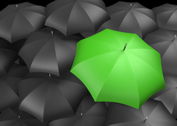 one green umbrella amongst many black ones