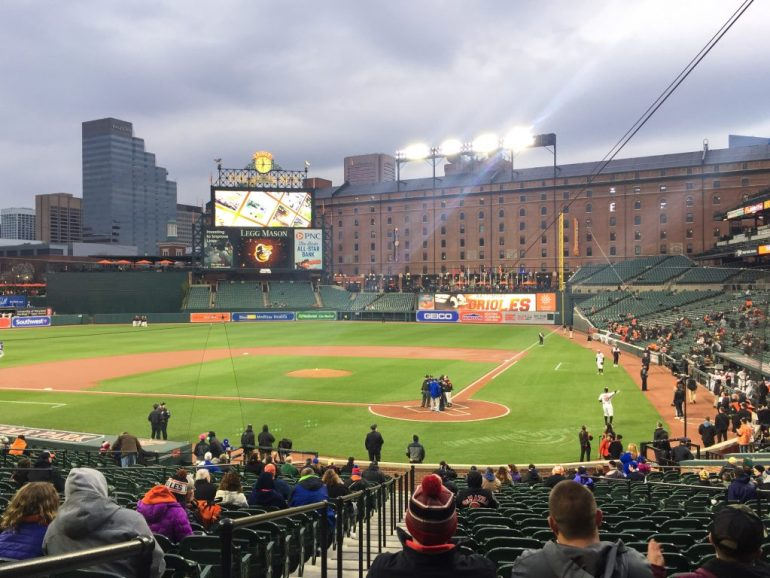 View of Oriole Park at Camden Yards and the B&O warehouse from seats in the back of the section behind home plate.