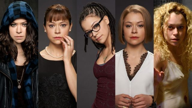 5 side by side portraits of the characters Tatiana Maslany plays on Orphan Black