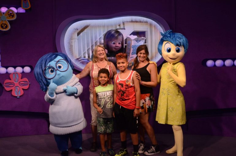 Theresa's mom, sister and nephews meeting Joy and Sadness from Inside Out.