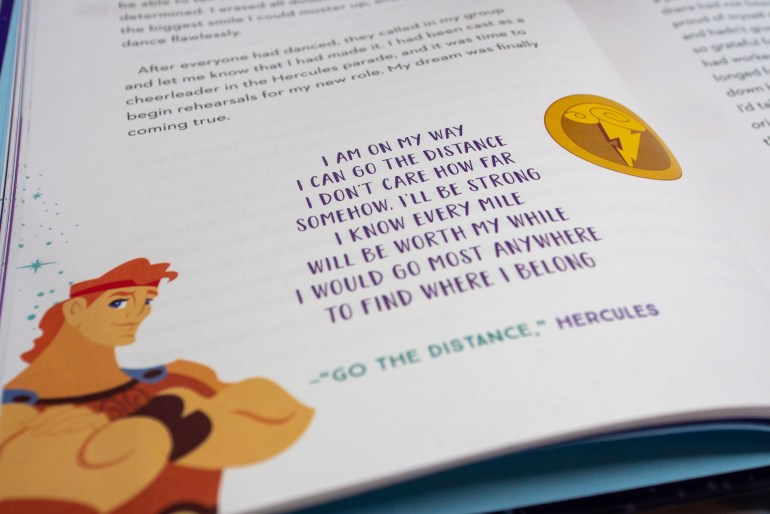 """Lower half of book page from It's Your Universe by Ashley Eckstein with a Hercules illustration and lyrics from the song """"Go the Distance."""""""