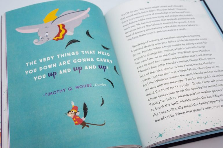"Book page with illustrated Dumbo and Timothy Mouse. In the center of the page is the sentence ""The very things that held you down are gonna carry you up and up and up."""
