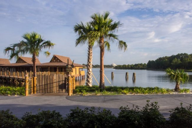 View overlooking Bay Lake towards the bungalows and Magic Kingdom from rooms at the Polynesian Village Resort.