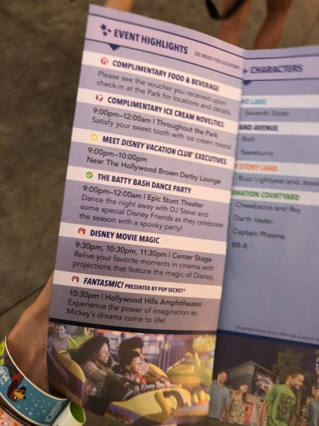 Program noting event highlights during DVC Moonlight Magic at Disney's Hollywood Studios, including complimentary food, beverage and ice cream, meet Disney Vacation Club executives, the Batty Bash Dance Party, Disney Movie Magic, and Fantasmic