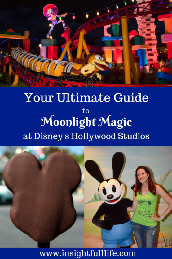 Your Ultimate Guide to DVC Moonlight Magic at Disney's Hollywood Studios pinterest image, featuring Slinky Dog Dash at night, a Mickey Premium Bar, and Theresa posing with Oswald the Lucky Rabbit