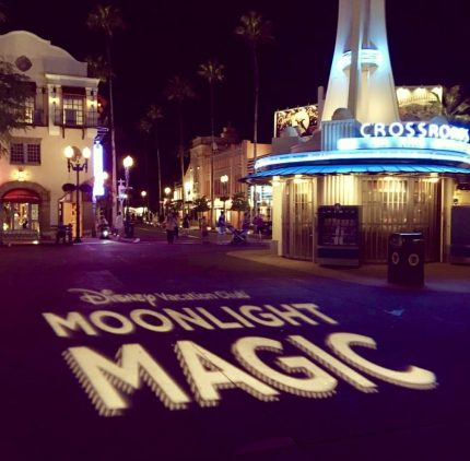 The words DVC Moonlight Magic projected onto the ground just inside the entrance of Disney's Hollywood Studios