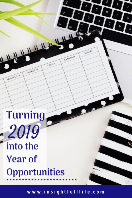 Turning 2019 Into the Year of Opportunities Pinterest image, with title in purple letters over top a black and white calendar, keyboard, and notebook