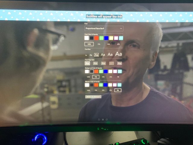Closed captioning interface to select font type, size, and colors as part of Disney+ Accessibility.