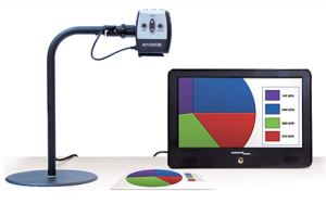 Enhanced Vision Acrobat, free standing portable camera, attached to a monitor