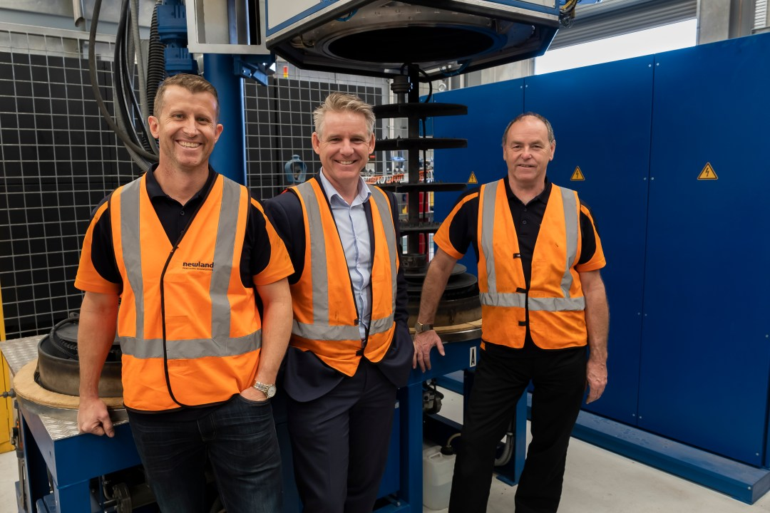 Peter Newland (Managing Director of Newland Precision Engineering), Stewart Blizard (Managing Director of Insight Advisory Group) and Greg Bosward (Production Engineer at Newland Precision Engineering)