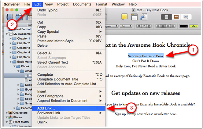 Add Links Scrivener