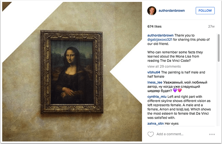 Dan Brown Instagram