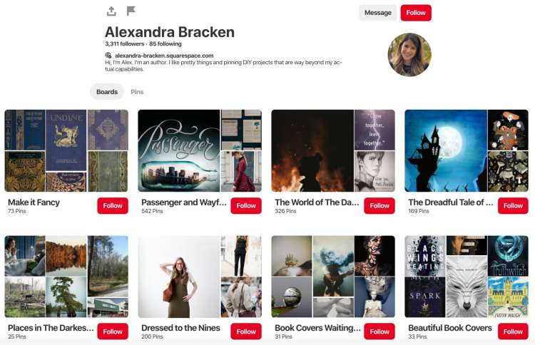 Alexandra Bracken Pinterest Board