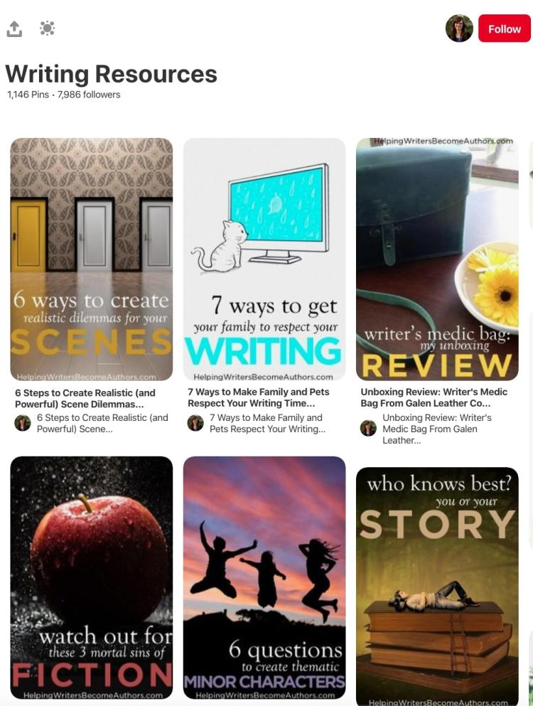 Author writing resources pinterest board