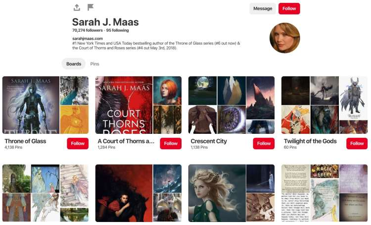 Sarah J Mass pinterest board