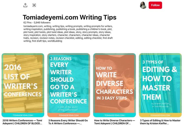 Tomi Adeyemi writing inspiration pinterest board
