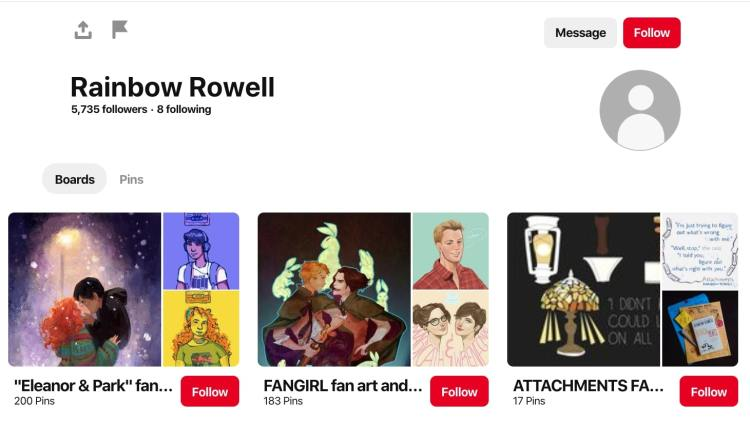 Rainbow Rowell fan appreciation pinterest board