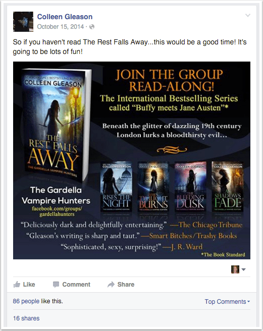 The Rest Falls Away - Facebook Read-Along Group Promo