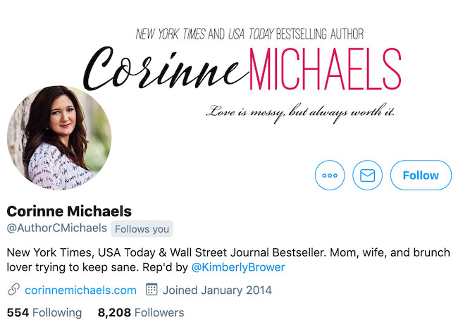 Corinne Michaels Twitter Header