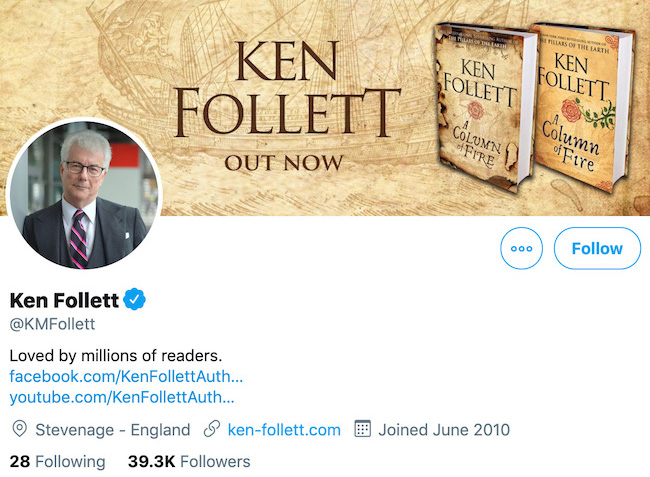 Ken Follett Twitter Header