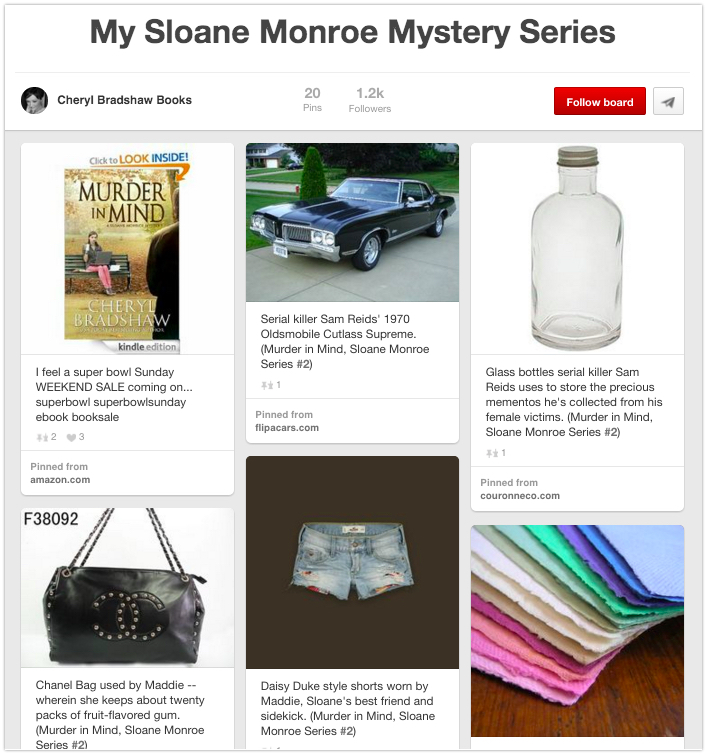 Pinterest board with book props