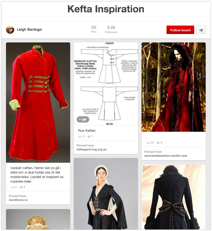 Pinterest board of character inspiration