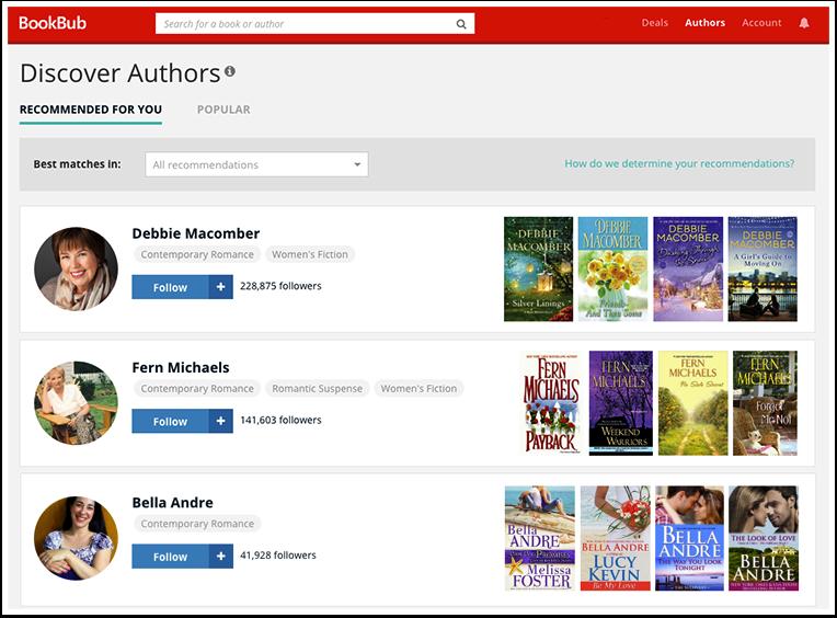 Discover Authors on BookBub.com