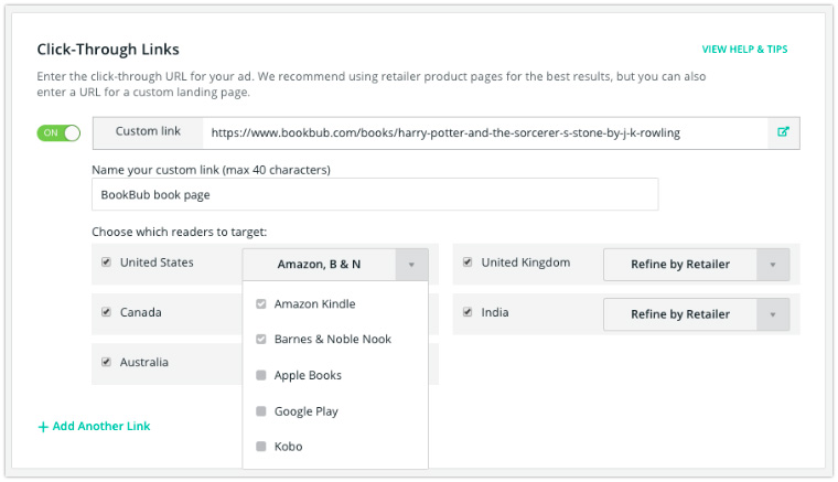 target readers bookbub ads region specific links