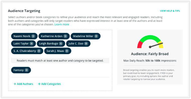 target readers bookbub ads audience category