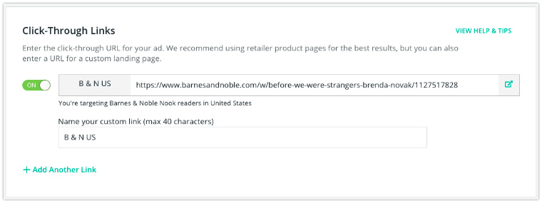target readers bookbub ads click through links retailer preference
