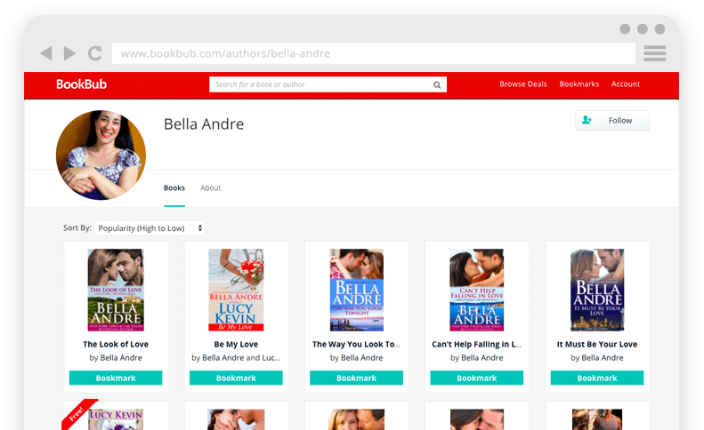 BookBub Author Profile - Bella Andre Example