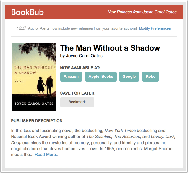 BookBub New Release Alert - The Man Without a Shadow