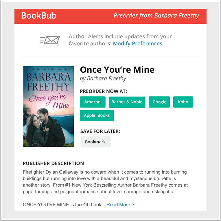 Example Preorder Alert from Barbara Freethy