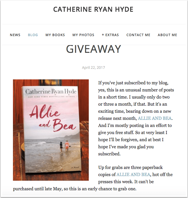 Catherine Ryan Hyde's book giveaway