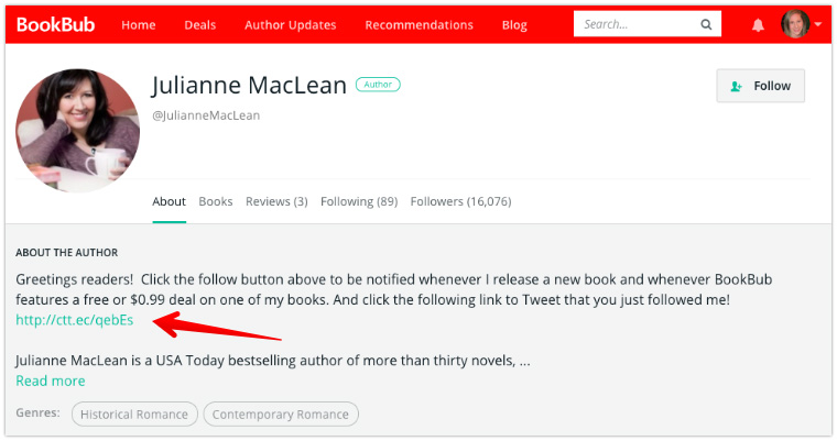 Julianne MacLean Author Profile with Click to Tweet