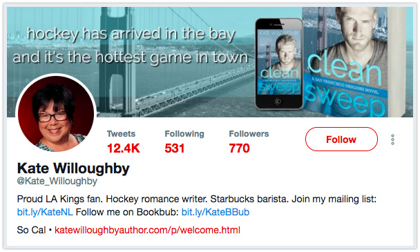 Twitter bio with Author Profile link