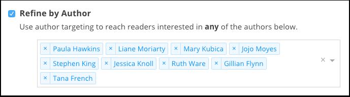 BookBub Ads - Refine by Author
