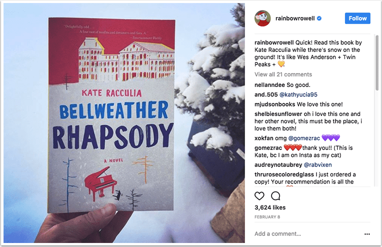 Book recommendation on Instagram