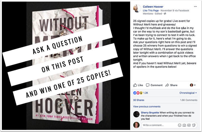 Colleen Hoover's Facebook post