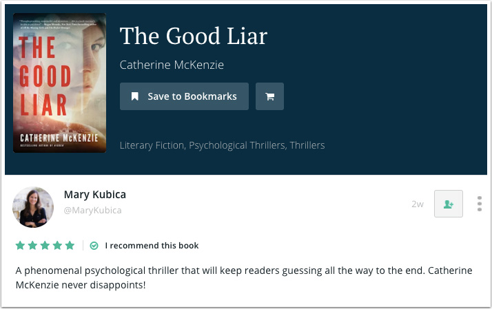 Mary Kubica's Recommendation