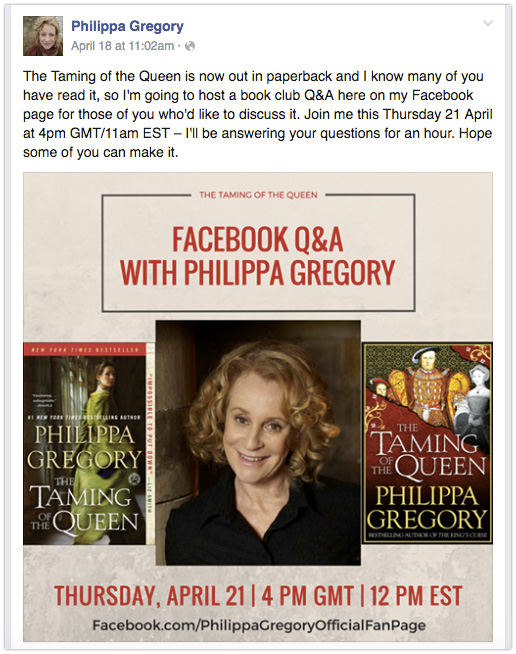 Philippa Gregory - Promote virtual events with an image