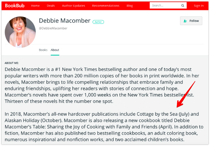 Updated BookBub Author Profile