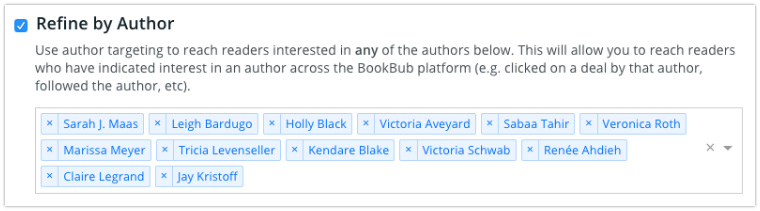 BookBub Ads - Refine by Multiple Authors
