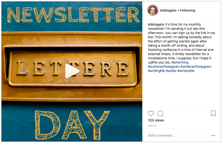 Newsletter post on Instagram