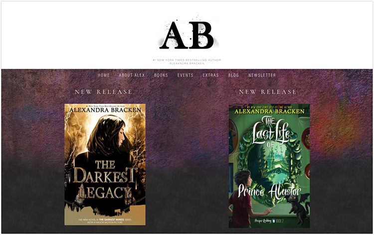 Alexandra Bracken author website design